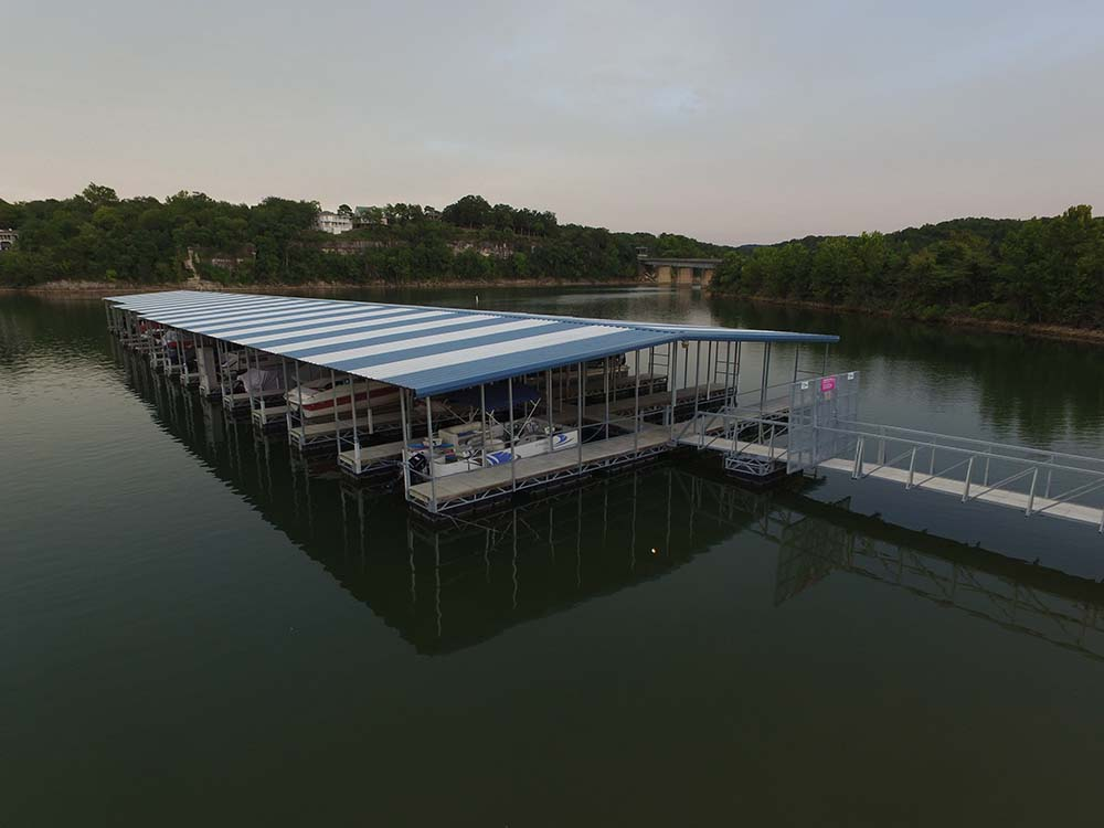 Drone shot of a dock at Eagle Rock Marina