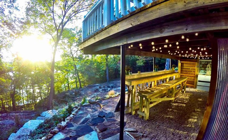 On The Rocks Cottage back bar overlooking fire pit